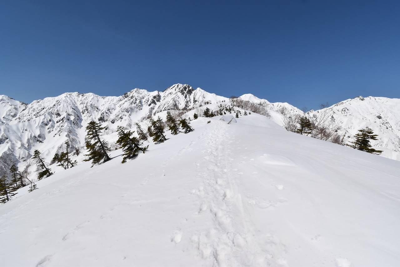 雪の遠見尾根
