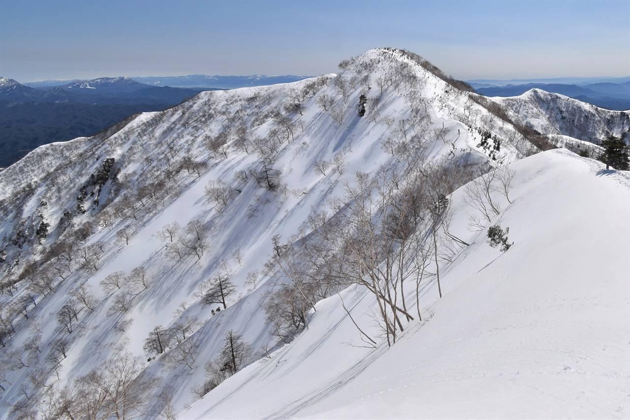 雪の中遠見山