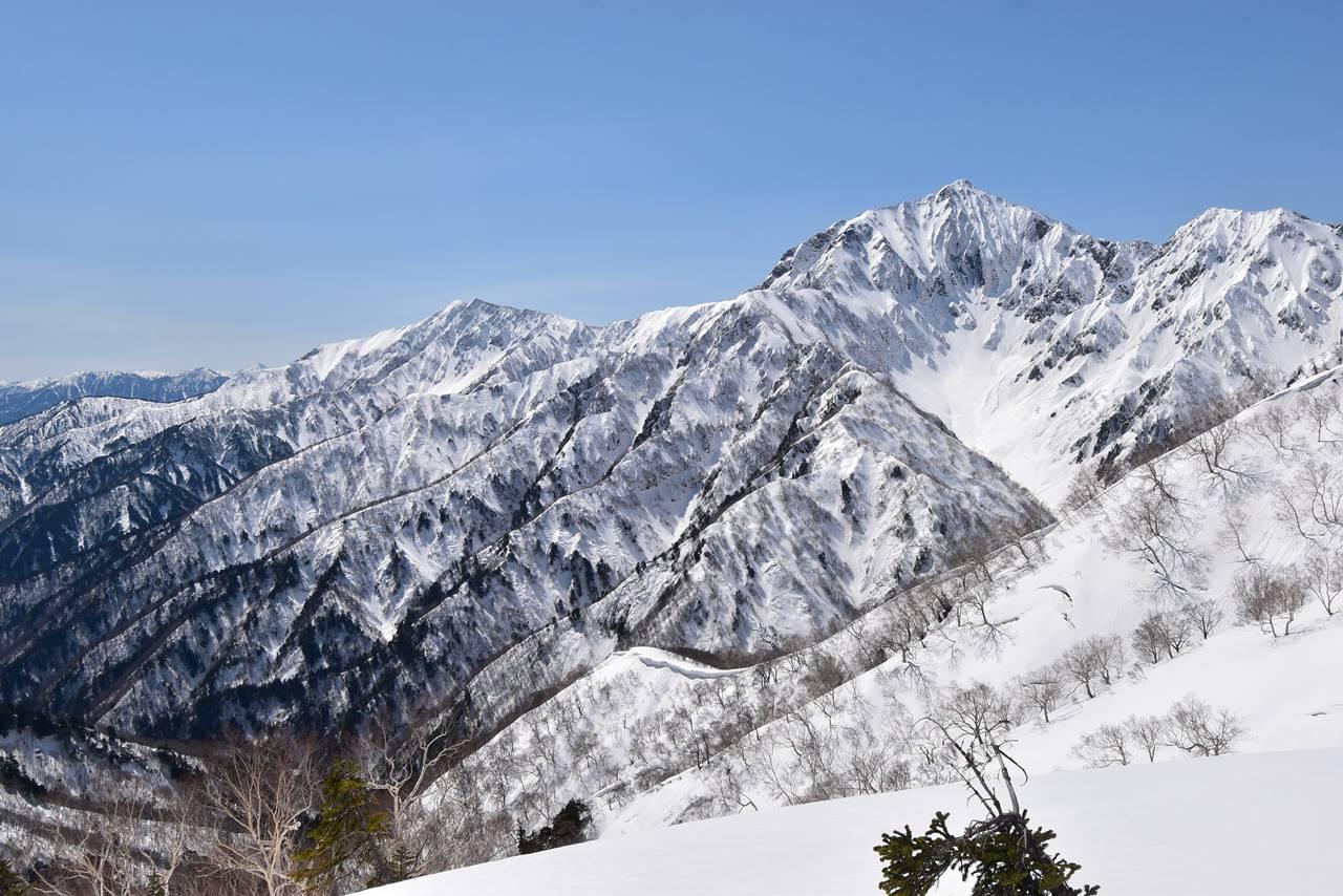雪の小遠見山からの爺ヶ岳と鹿島槍ヶ岳