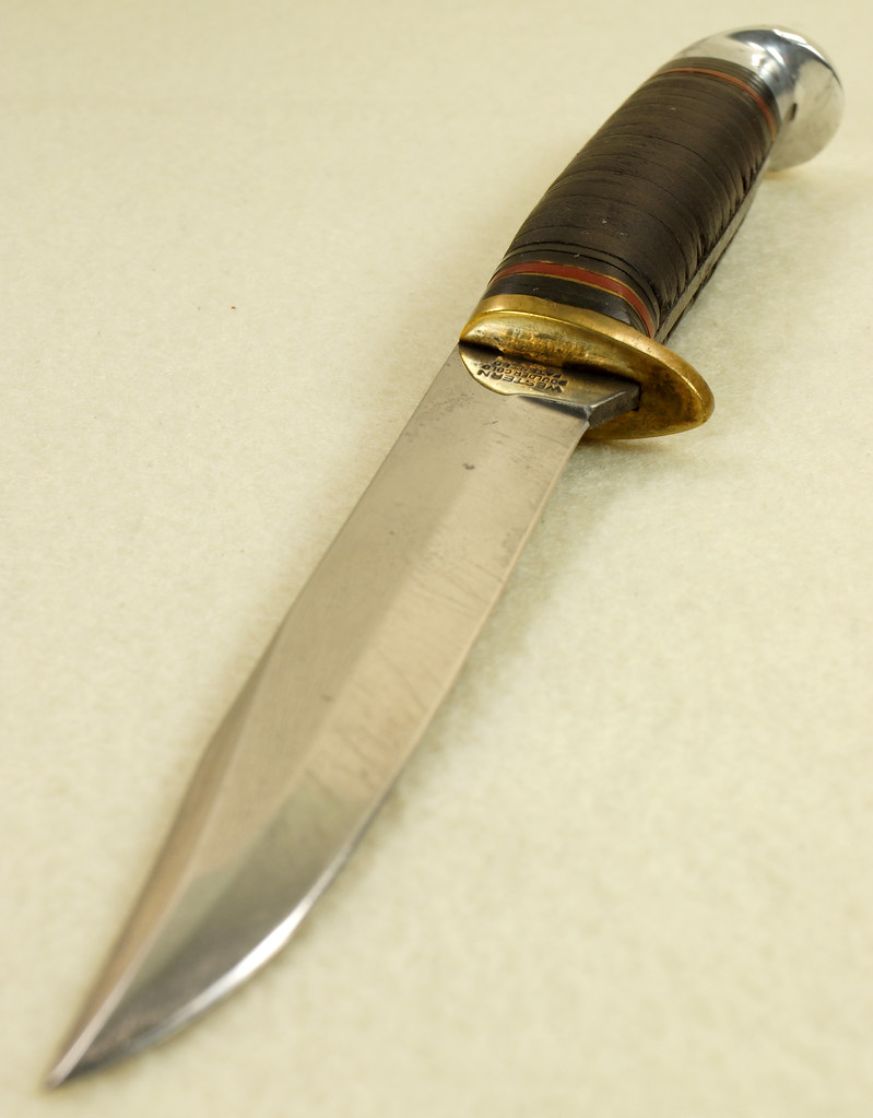 RD29594 Vintage Western Boulder Colo. Patented Fixed Blade Knife wih Original Sheath DSC01801