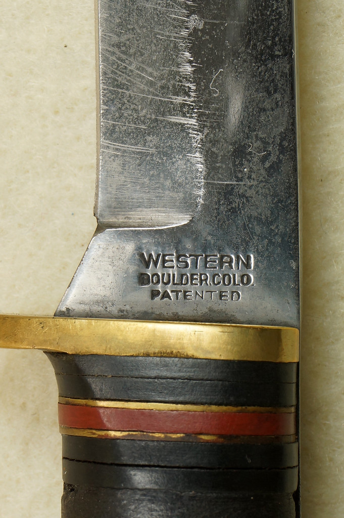 RD29594 Vintage Western Boulder Colo. Patented Fixed Blade Knife wih Original Sheath DSC01800