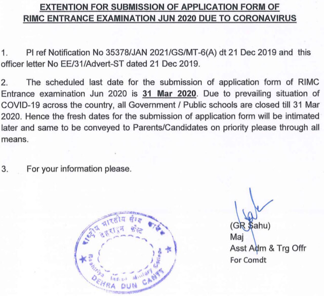 RIMC Application Date Extended