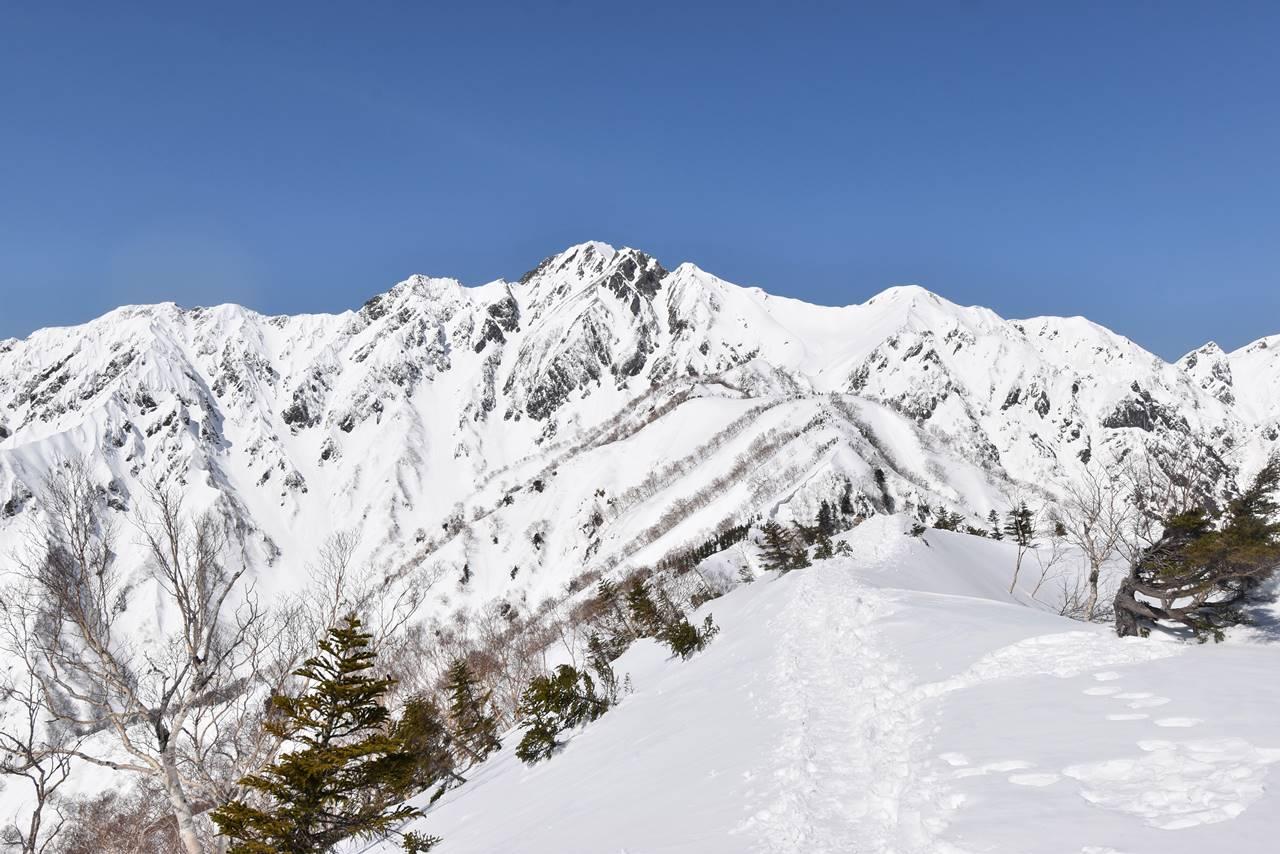 冬の中遠見山から眺める五竜岳