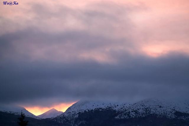 Awesome dusk at Yukon mountains, Canada