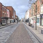 Empty street of Preston on a Saturday morning