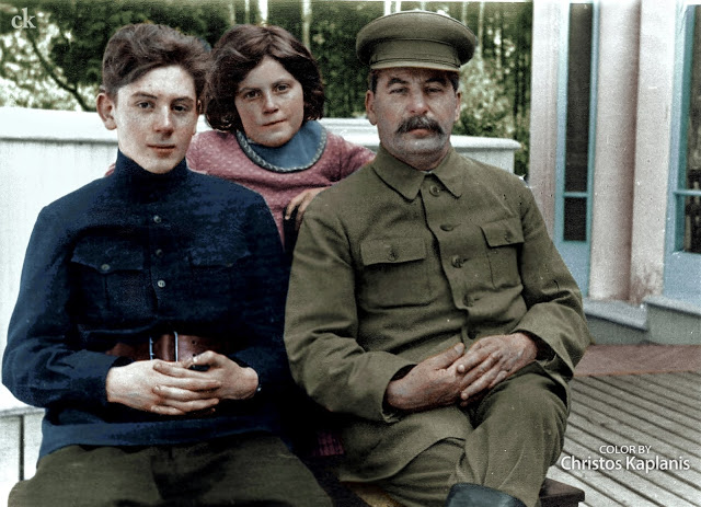 Joseph Stalin with 2 of his kids, Vassili and Svetlana, in Moscow, Russia in 1935