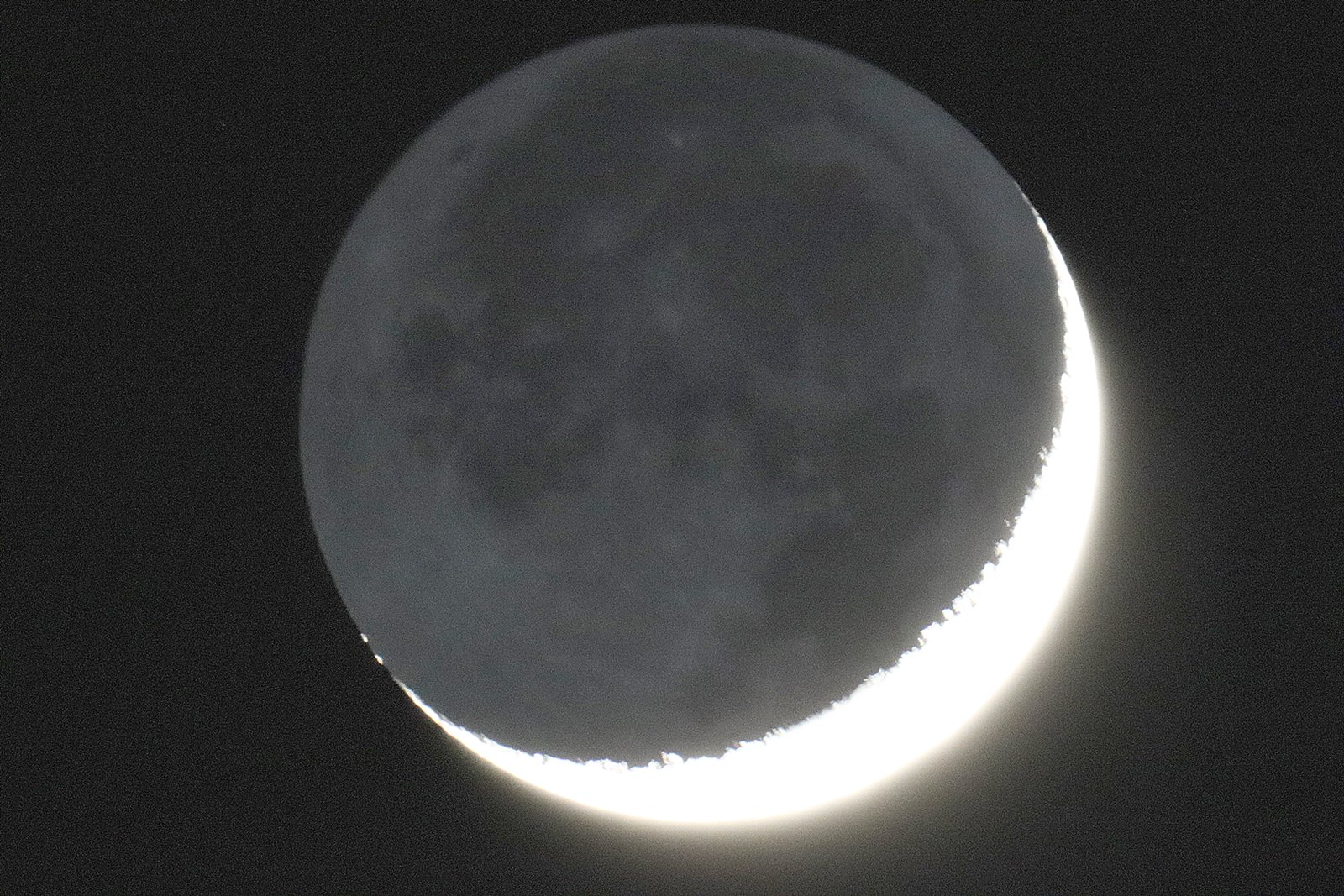 Waxing crescent Moon with Earthshine Friday 27 March 2020