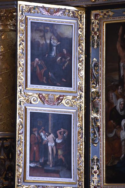 Celle, Niedersachsen, Stadtkirche St. Marien, altar, painted passion scenes