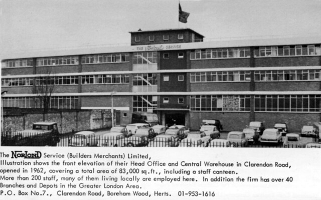 The Norlond Service Head Office, main entrance in Clarendon Road, Borehamwood (NorLond is an abbreviation for NORrth LONDon)