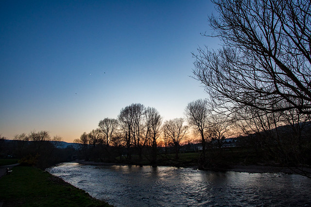 Another riverside sunset, on our daily exercise. If you look carefully you can see two birds and a new moon. Day 88 of my 2020 366 photo project. #ilkley #wharfedale #yorkshire #landscape #365 #riverwharfe #sunset #river