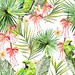 cybervoice73 posted a photo:	Beautiful watercolor seamless tropical jungle floral pattern background with palm leaves and tropical flowers Fuchsia, plumeria. Illustration