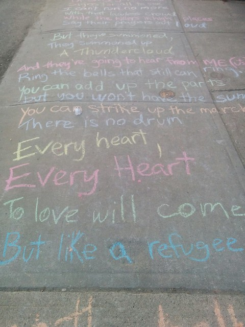 "Leonard Cohen, ""Anthem"", College between Margueretta and Brock (3) #toronto #collegewest #brocktonvillage #collegestreet #sidewalk #chalk #leonardcohen #poetry #lyrics #anthem"