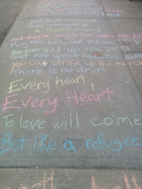 """Leonard Cohen, """"Anthem"""", College between Margueretta and Brock (3) #toronto #collegewest #brocktonvillage #collegestreet #sidewalk #chalk #leonardcohen #poetry #lyrics #anthem"""