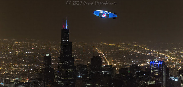 DirecTV Blimp Lightsign Lightship above Chicago at the Grateful Dead 50th Anniversary Aerial
