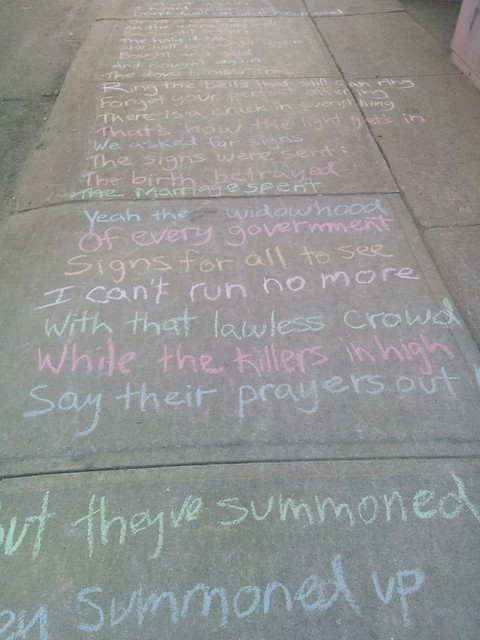 "Leonard Cohen, ""Anthem"", College between Margueretta and Brock (2) #toronto #collegewest #brocktonvillage #collegestreet #sidewalk #chalk #leonardcohen #poetry #lyrics #anthem"