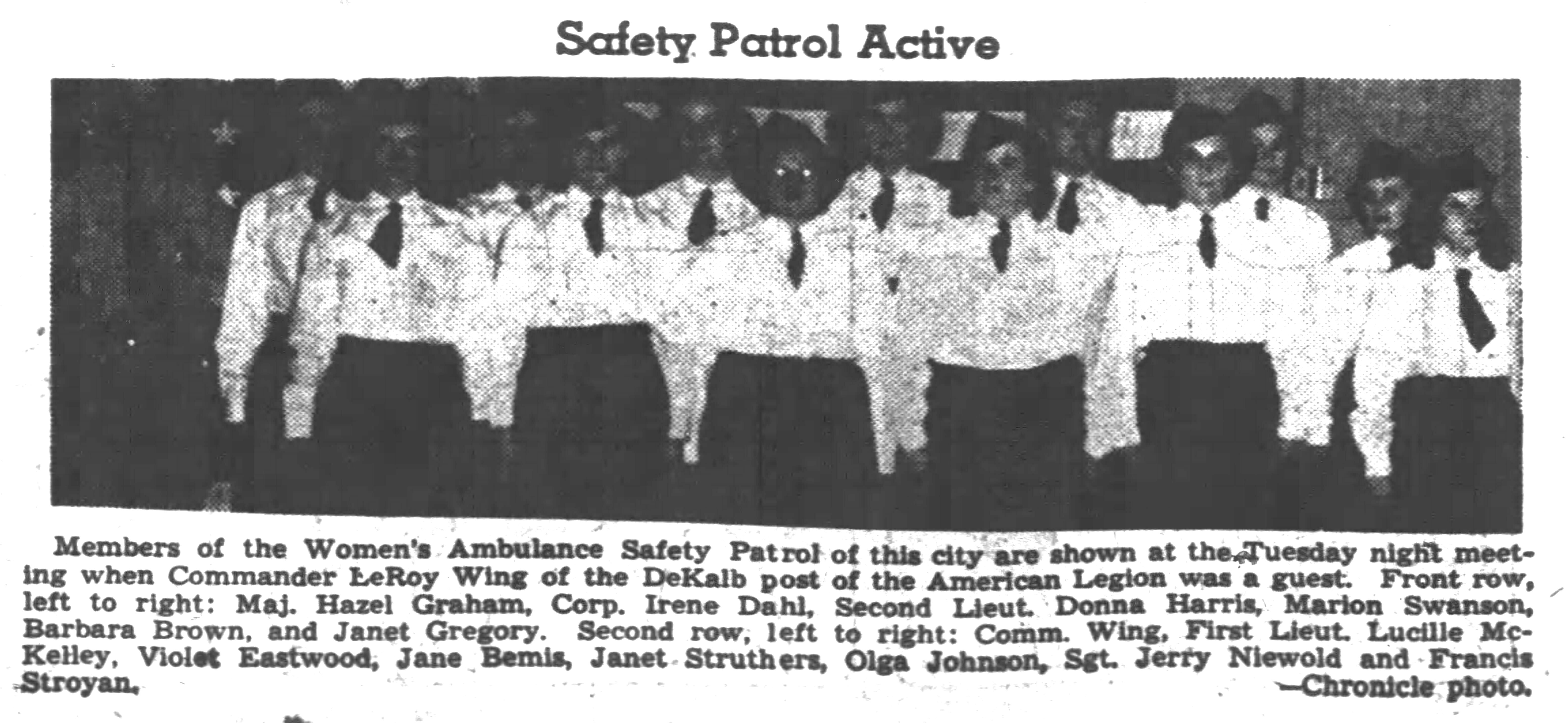 DeKalb County Women's Ambulance Safety Patrol