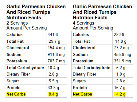 Nutrition Info for Garlic Chicken with Parmesan