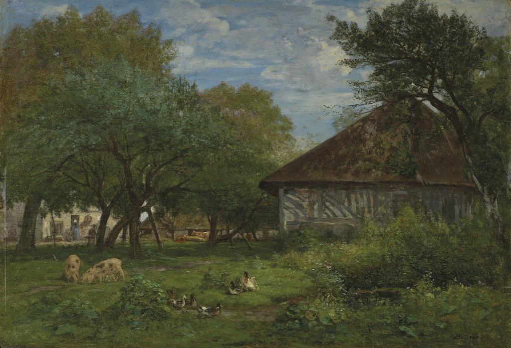 Eugene Boudin «Ferme aux environs d'Honfleur», 1856-60