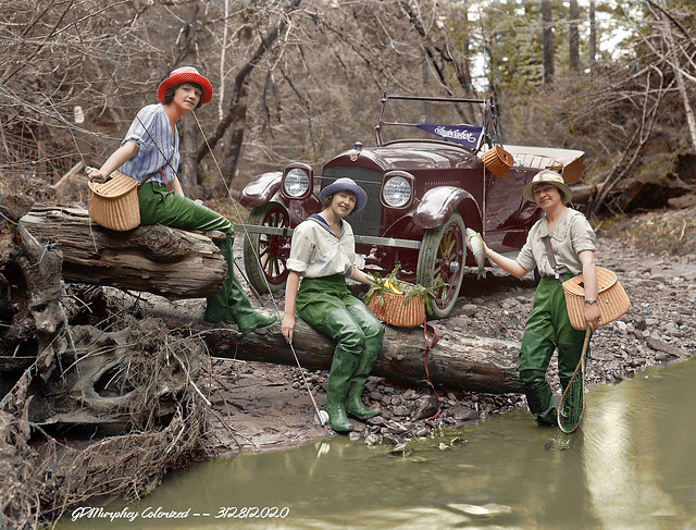 1919 Studebaker Fly Fishing Colorized