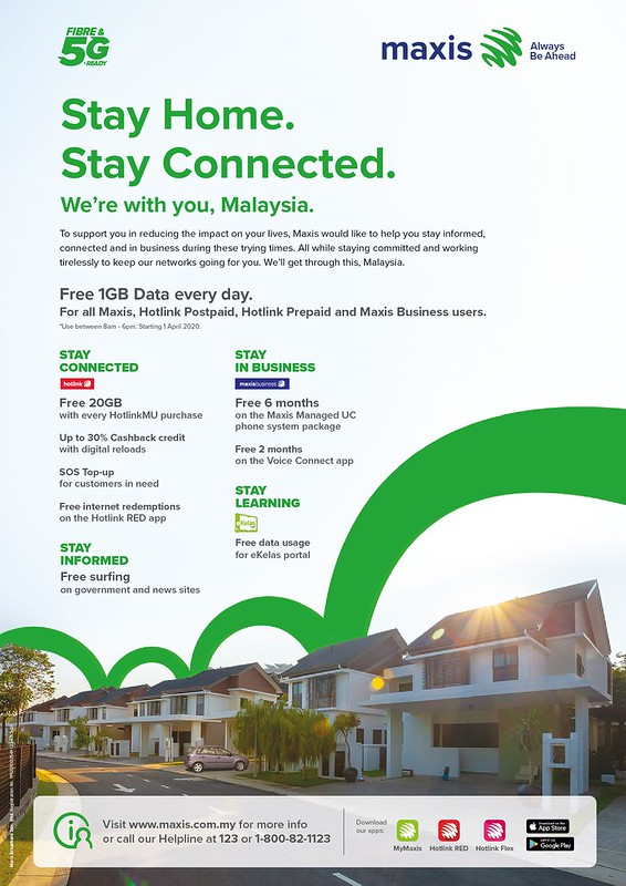 Maxis 1GB free data (280320). Stay Home. Stay Connected.