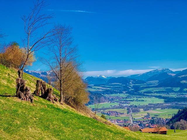 View from Hocheck over the river Inn valley and Oberaudorf in Bavaria, Germany