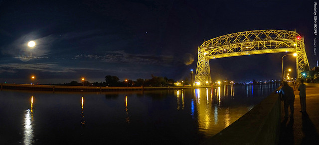 Moon & Aerial Lift Bridge (Pano), 16 July 2019