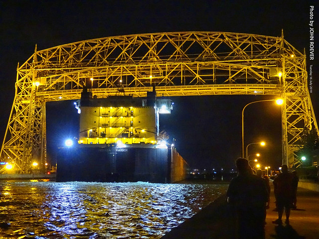 Ship underneath Aerial Lift Bridge at Night, 16 July 2019