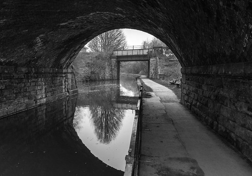 landscape derbyshire chesterfield chesterfieldcanal railwaybridges cuckooway towpath reflections blackwhite monochrome