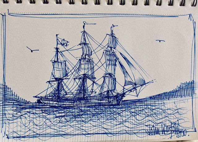 Pin sketch of Sailing ship, ballpoint pen drawing by jmsw.