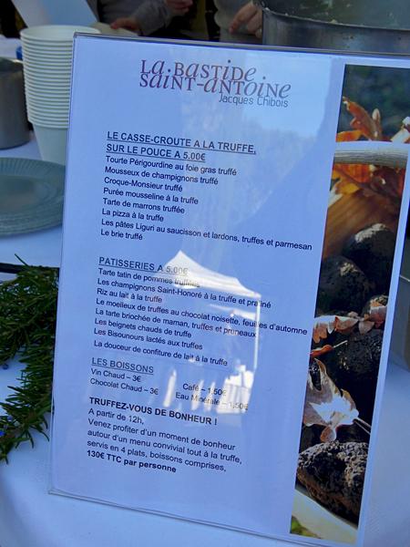 menu truffe