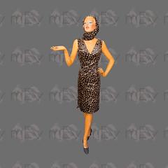 1960s Leopard Print Velvet Wiggle Dress with Matching Helmet