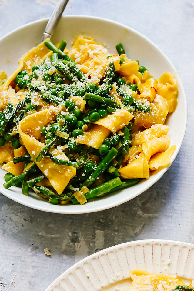 Pappardelle with Asparagus, Peas, and Saffron