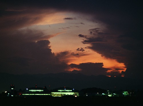 nikon fe film fuji pro400h night sunset gloam twilight 35mm airport airfield sky