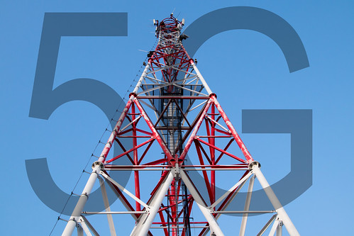Cell tower and transparent 5G text | by Ivan Radic