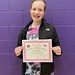 Emma honored for receiving a 4.0 grade point in her first semester of 7th grade