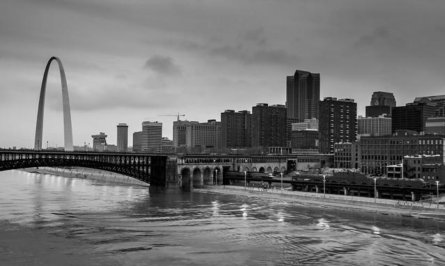 St Louis Skyline Sunset in B&W