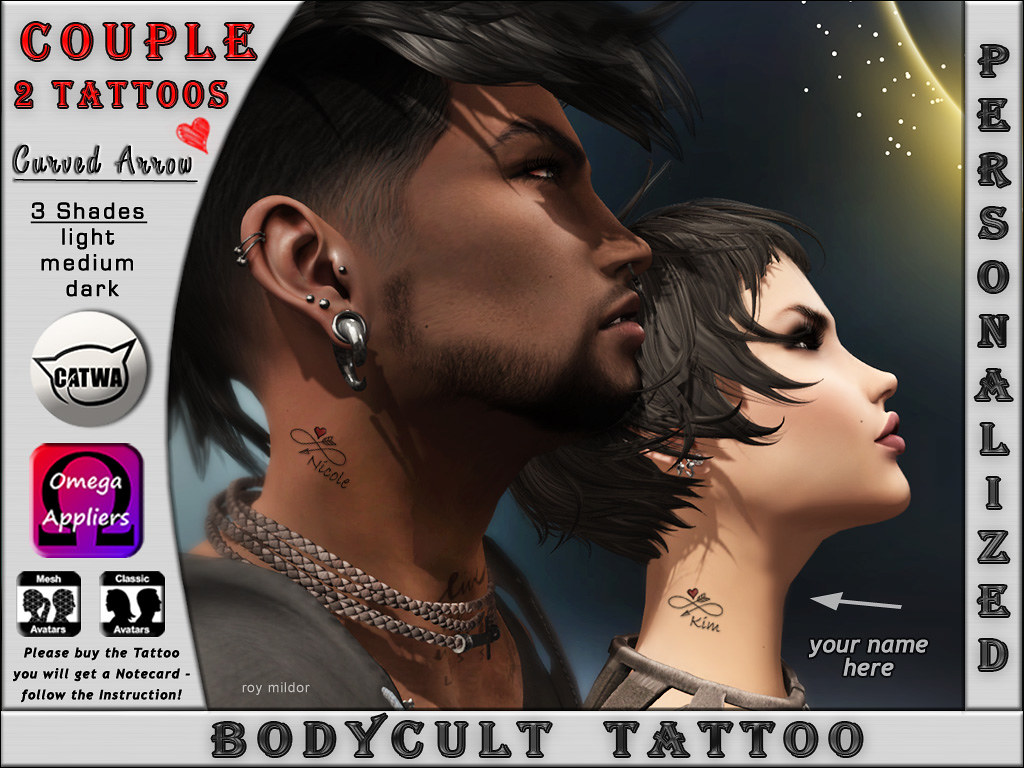 BodyCult Custom Tattoo Neck Couple Infinity Curved Arrow with your Name