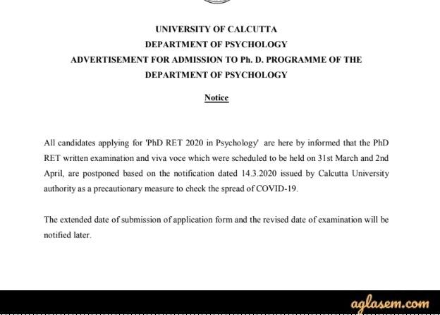 Calcutta University Ph.D Admission 2020 postponed