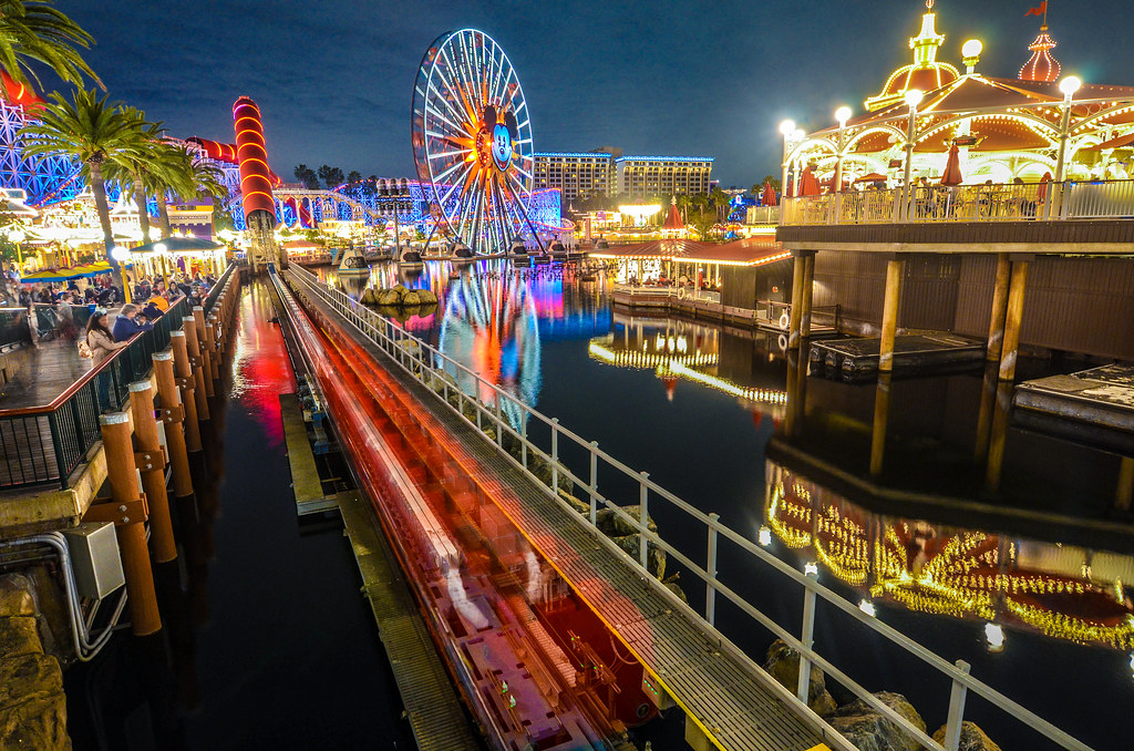 Pixar Pier night IncrediCoaster DCA
