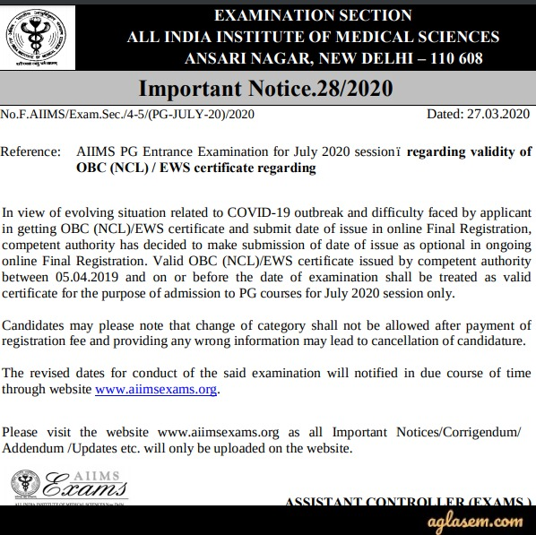 Important Notice Regarding Validity of OBC (NCL) / EWS Certificate