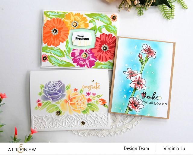 Altenew-Just Jasmine-SatinWhite Sequins-Precious Blooms STamp Set-Sweet Spring Stencil-Antique Gold Sequins-Virginia#1