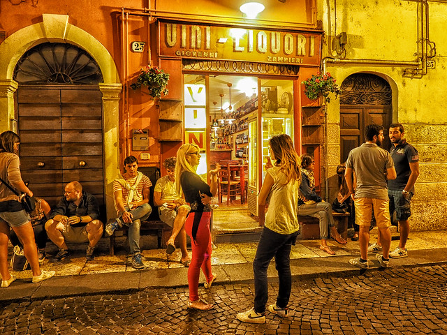 Street scene in Verona reinterpreted-