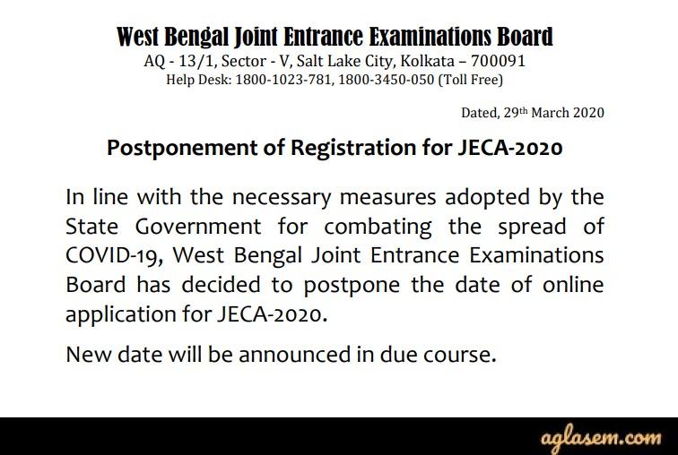 WBJEE JECA 2020 Application Postponement Notice