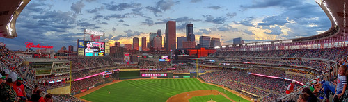 minnesota 2019 july july2019 vacation roadtrip 2019vacation 2019roadtrip minnesota2019roadtrip minnesota2019vacation twincities minneapolis hennepincounty downtownminneapolis targetfield stadium ballpark baseballfield twins minnesotatwins majorleaguebaseball mlb oaklandas baseballgame twinsasgame twinsvsas evening upperlevel minneapolisskyline section322 5thinning pano panorama panoramic autostitch wideview usa