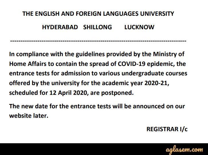 EFLU UG Courses Exam Date Postponed Notice