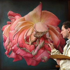 Oil Painting Dry Pink Rose
