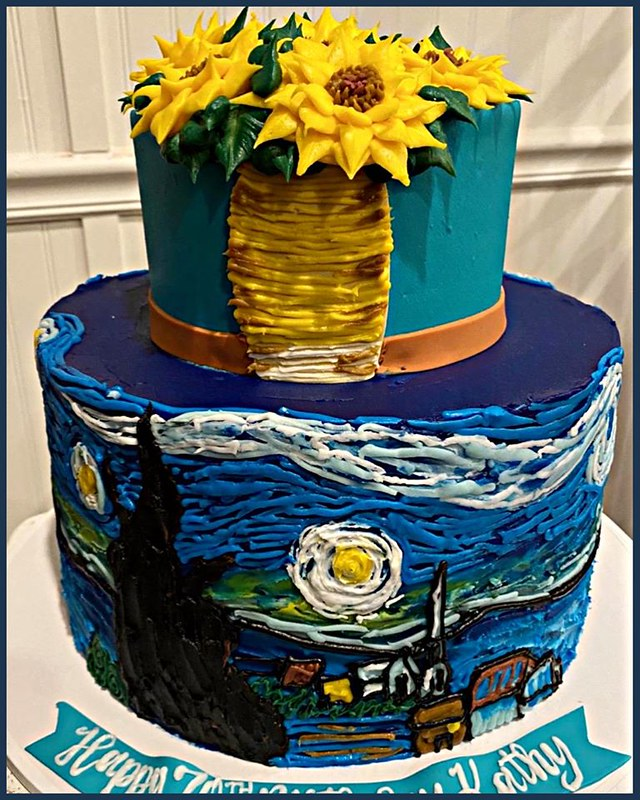 Van Gogh Inspired Cake by Blue Cake Company