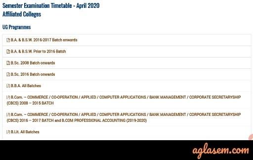 Bharathidasan University Time Table