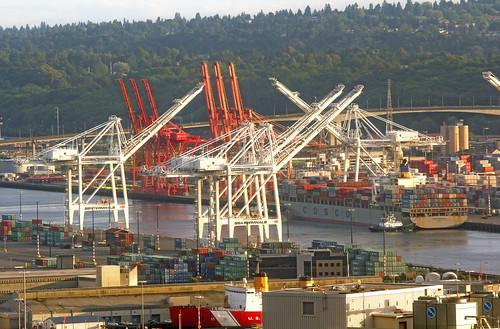 ships cranes water waterways watercraft seattle