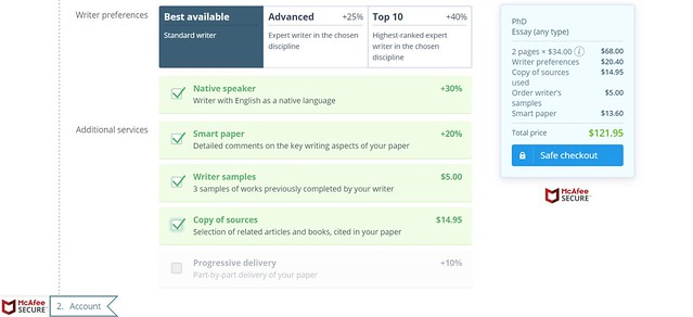 Writer preferences and additional services prices